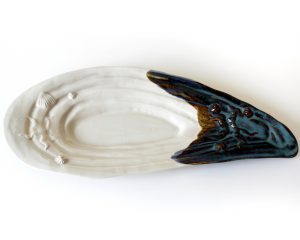 large mussel shell pottery made in Kennebunk, ME by hands on pottery