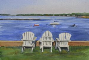 Adirondack chairs by the ocean in Kennebunkport Maine