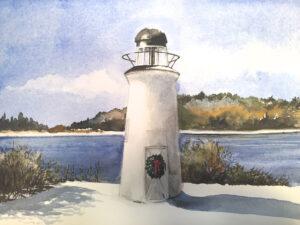 Nonantum Resort lighthouse after a snowfall