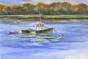 Lobster boat moored at the end of the day