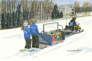 watercolor print by wendy webster good of ski school at sugarloaf