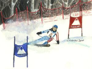 watercolor print of skier racing at Sugarloaf Mountain, ME by Wendy Webster Good