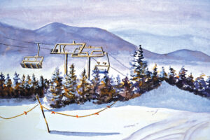 watercolor print by wendy webster good of timberline chairlift at sugarloaf mountain maine