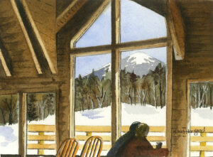 watercolor print by wendy webster good of skiers warming up inside bullwinkles lodge