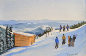 watercolor print by wendy webster good of spillway crosscut at sugarloaf maine