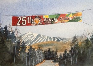 watercolor print by wendy webster good of reggae fest at sugarloaf mountain maine